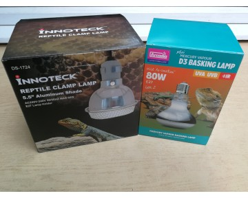 Arcadia D3 80watt UV/Basking Bulb and The Tortoise Shop Clamp Lamp (by Innoteck)