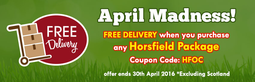 April Madness Free Delivery when you purchase any Horsfield Package